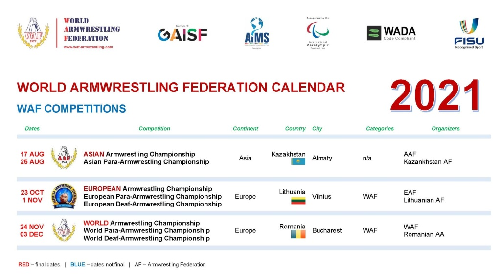 WAF CALENDAR International 2021 w