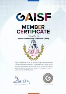 GAISF SportAccord Member Certificate